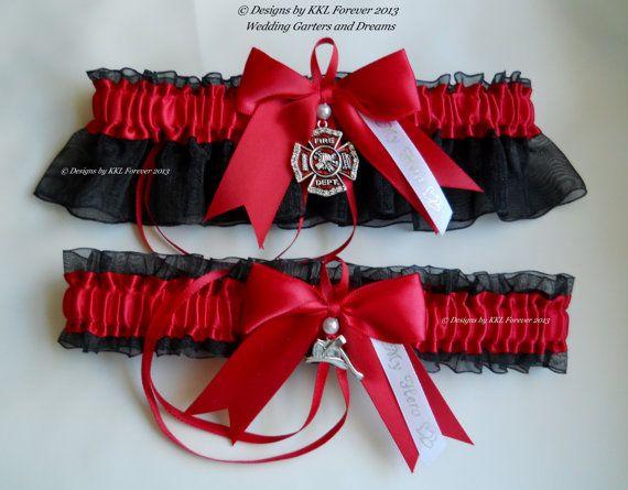 Firefighter Wedding Garters Crystal Maltese by ElegantGarterShop, $48.00