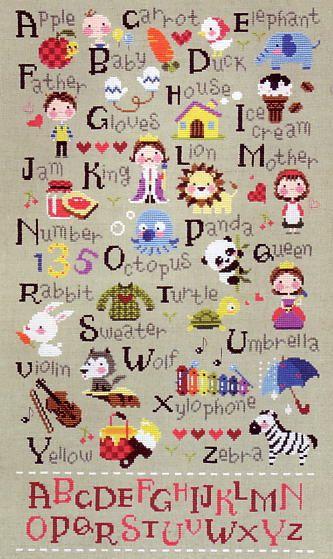 【韓国製・カントリー クロスステッチ刺繍図案】SO_G39アルファベット・小人シリーズ【楽天市場】