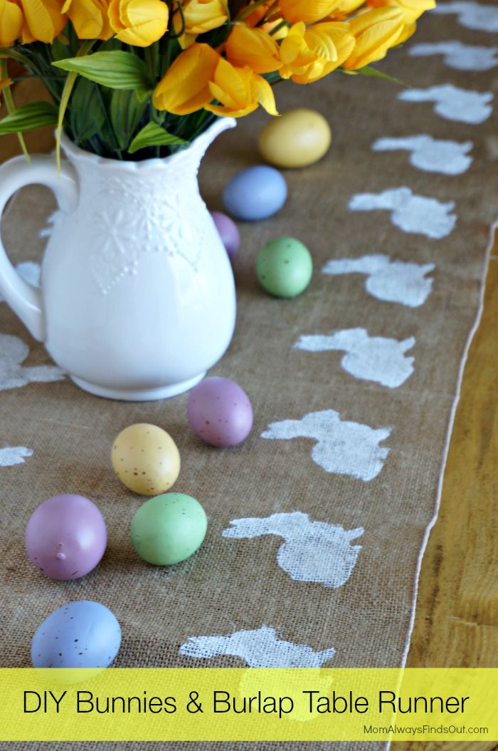 #DIY #Easter Decorations: Bunnies and Burlap Table Runner