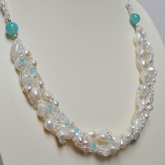 Pearl 1  Freshwater Pearl Aqua Chalcedony Czech by MissionBlueArts
