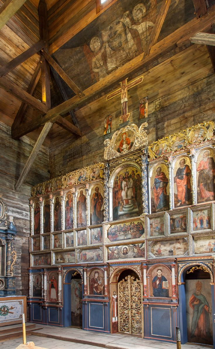 Drewniana cerkiew greckokatolicka z XVI w. /  Radruz. Wooden Greek Catholic Tserkva from 16th century, Podkarpackie, Poland, UNESCO World Heritage List.