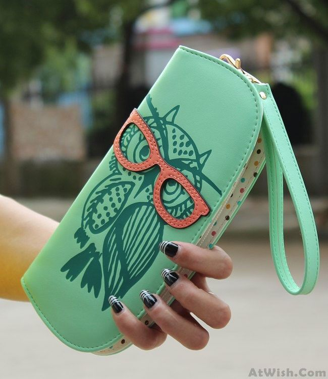 Woman Lady Girls Lovely Lovely Owl Glasses Hit Color Printing Round Zipper Wallet Long Wallet Purse Clutch only $22.99
