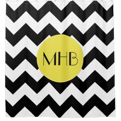 Monogram   Zigzag Chevron Pattern   Black Yellow Shower Curtain   Black And  White Style Stylish Cool Unique Customize Cyo
