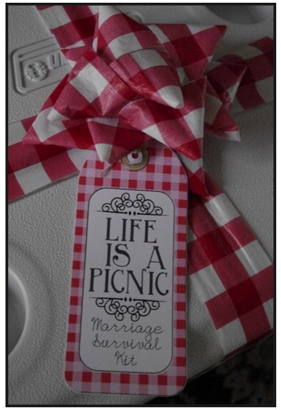 Creative Tryals: Life is a Picnic - Marriage Survival Kit- great wedding or anniversary gift idea