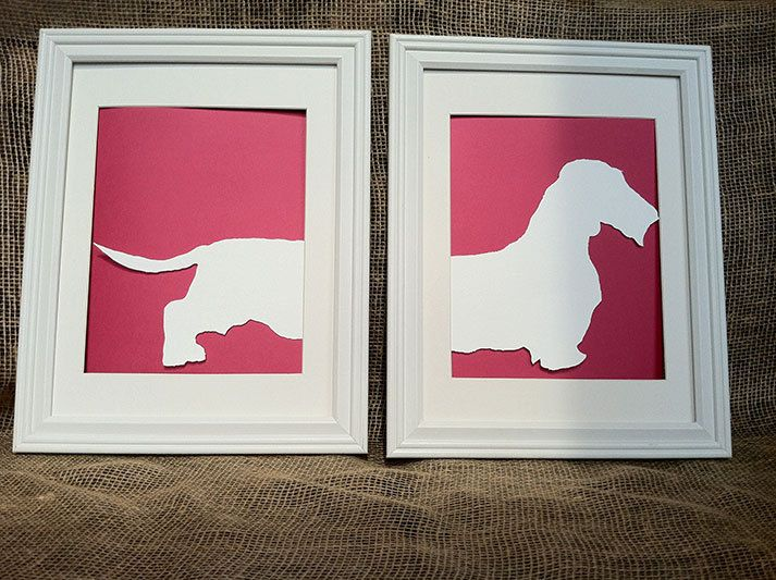Hand Cut Wire Haired Dachshund Silhouette with Accent Card Stock Paper.