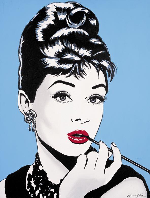 Antonio de Felipe - Audrey Hepburn Pop Art (blue background)