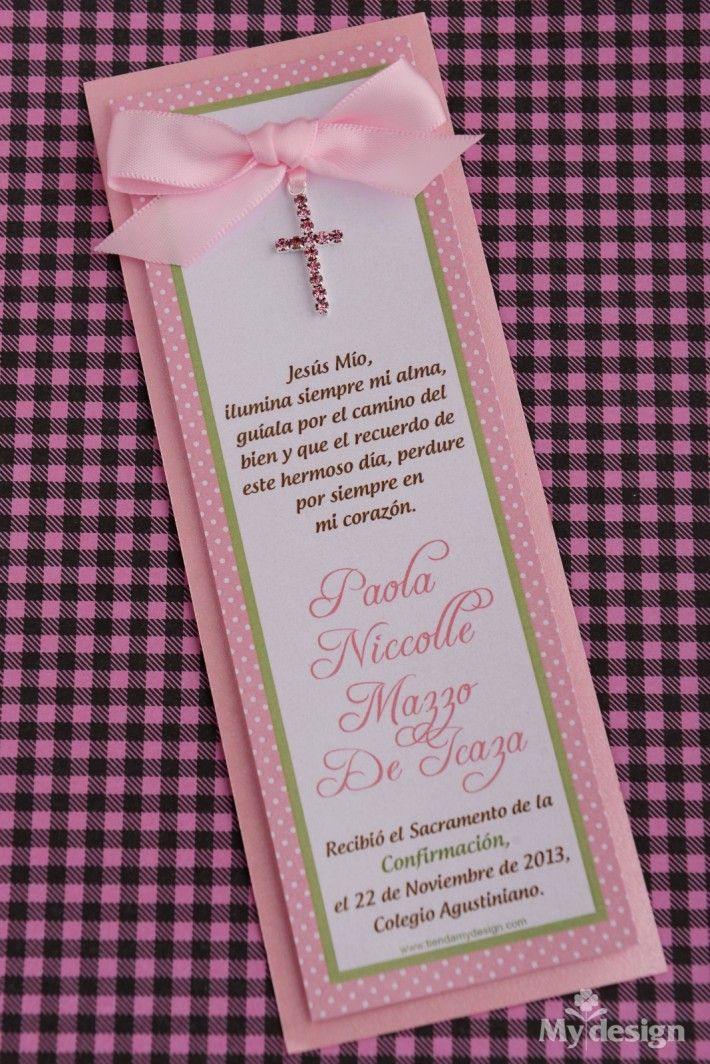 Invitación a confirmación con cruz rosada - Tienda My Design Panamá