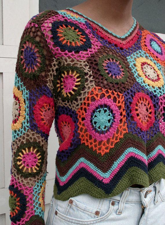 Vintage 1990's Crochet Open Knit Multicolor di mothersdaughtershop