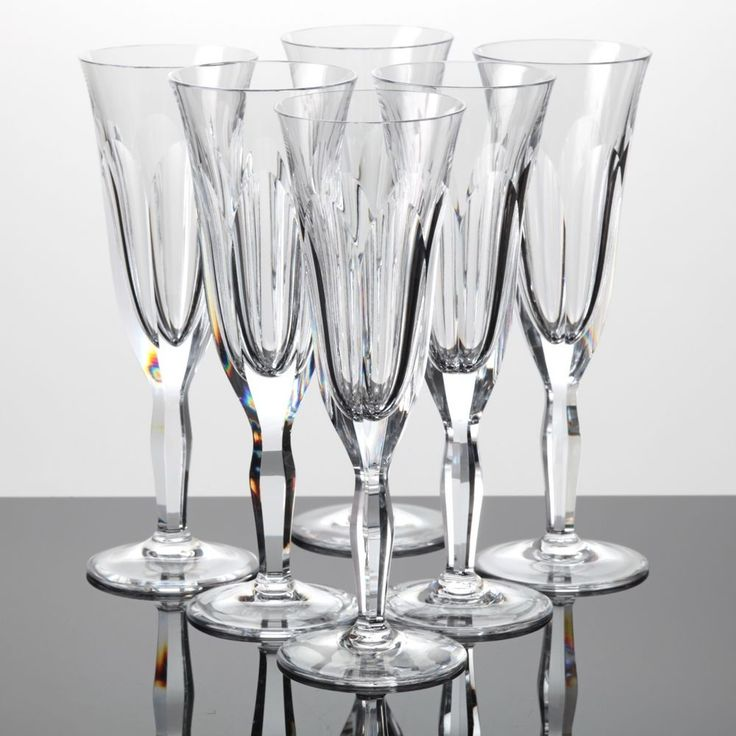 6 Sektgläser Vintage WMF Verena Bleikristall Glas Kristall Gläser ~ 60er Jahre
