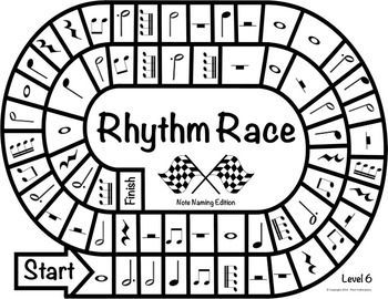 MUSIC CENTERS: RHYTHM RACE NOTE NAMING EDITION LEVEL 6 - RHYTHM GAME - TeachersPayTeachers.com