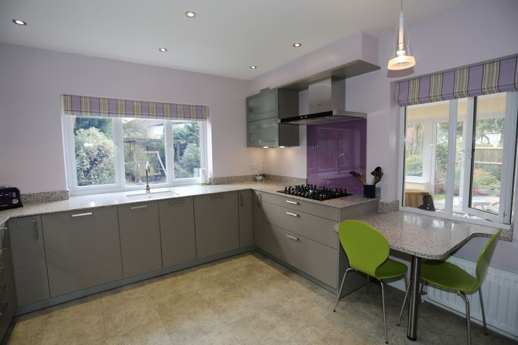 Contemporary Modern Shiny Grey Kitchen With Purple