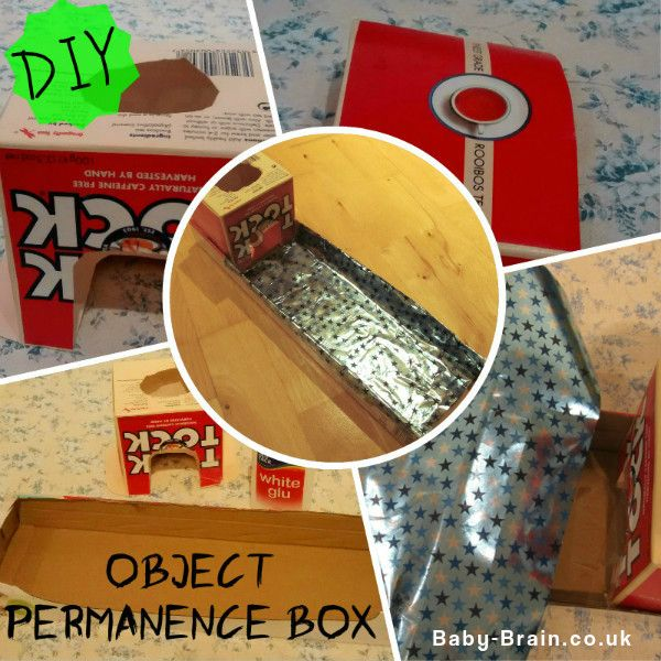 DIY Montessori inspired object permanence box for baby/infants. Costs practically nothing to make, so many learning benefits. baby-brain.co.uk