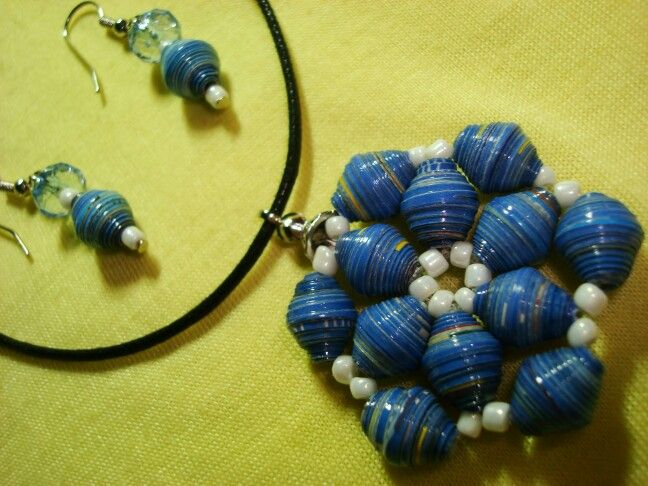 Blue paper bead collection