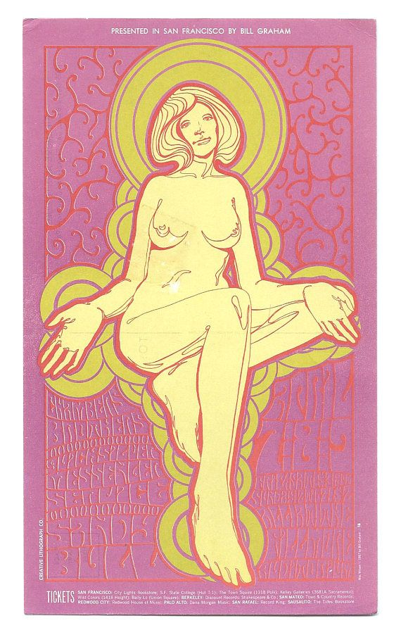 ORIGINAL Chambers Brothers Concert Postcard BG058-PC Fillmore 1967 Vintage Collectibles Bill Graham Music Psychedelic San Francisco Hippies