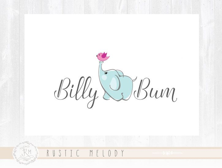 Elephant Logo Design Baby Logo Design Boutique by RusticMelody1