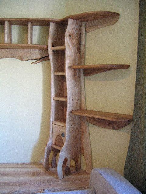 Wood Shelves - how cute in a cob house!!