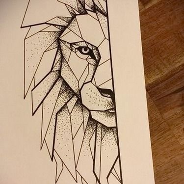 Half of the Lion Face Tattoo Design