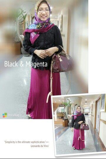 Black & Magenta hijab style