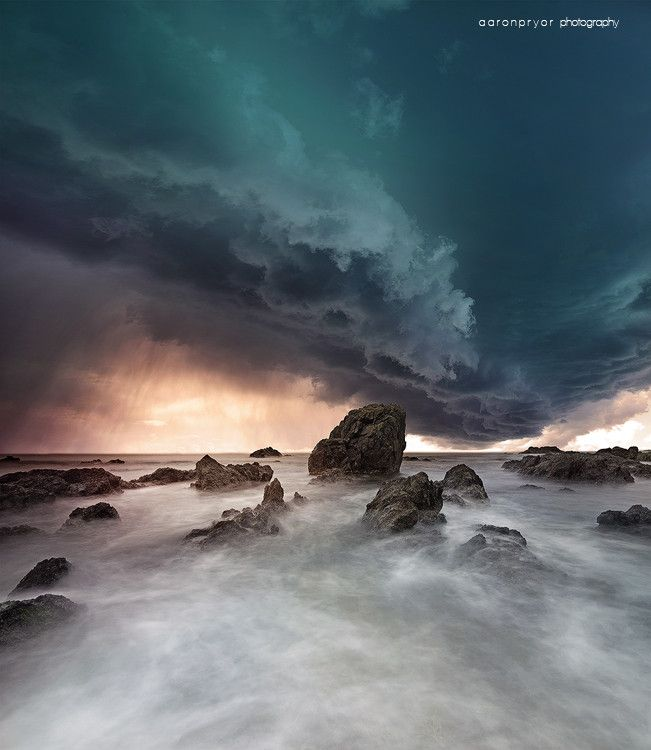"""Falling"" by landscape photographer Aaron Pryor.  Storm over ocean at Port Macquarie"