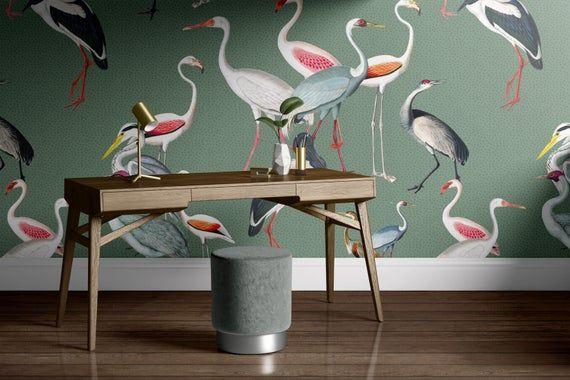 Removable Wallpaper Mural Crane Wallpaper Bird Wallpaper Etsy Bird Wallpaper Removable Wallpaper Modern Wallpaper