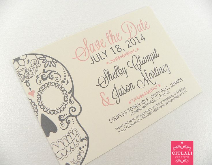 Sugar skull Save the Date - Day of the Dead Wedding Announcement in Pink & Gray or any color(s) - by Citlali - Custom Invitations - Seattle Burien, Washing - we ship internationally