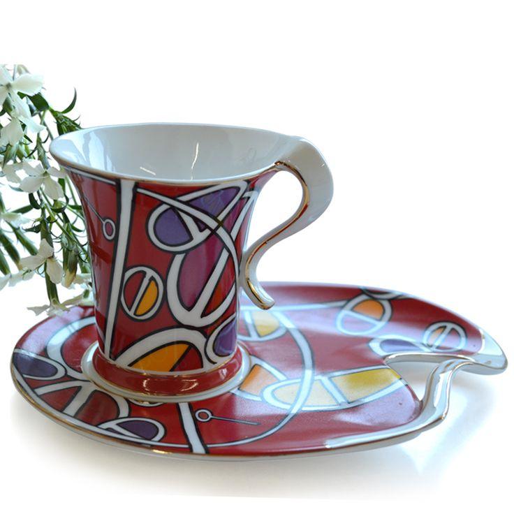 Чай чаша комплект абстрактный керамика кофе чаша послеобеденный чай комплект 2 чашки и 2 блюда / lot 2 чашки и 2 блюда / много