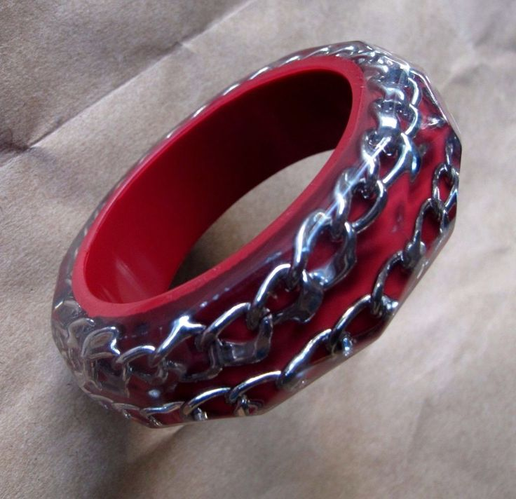 BANGLE CUFF Red Silver Chain RESIN Bracelet Steampunk Chunky Grunge Statement