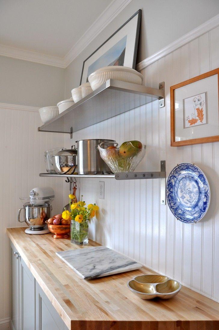 White Beadboard Kitchen Ceiling