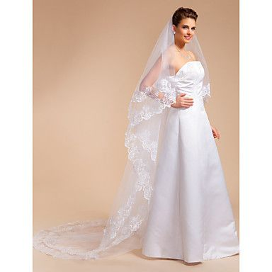 One-tier Cathedral Wedding Veil With Lace Applique Edge – USD $ 29.69