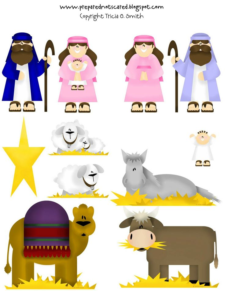 printable for nativity set.  Laminate and attach magnet to the back, encourage lil' ones to play out on the Christmas story on the fridge again and again!