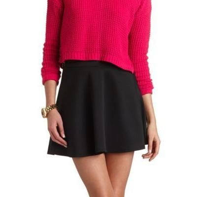 $16, Black Skater Skirt: Solid High Waisted Skater Skirt By Black by Charlotte Russe. Sold by Charlotte Russe. Click for more info: http://lookastic.com/women/shop_items/131941/redirect
