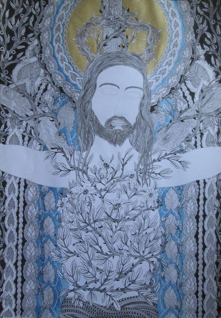 Autorská perokresba, Johana Hájková 11/12/2016 Jesus jh 2016,karton, černá tuš, pastel, barva zlatá, stříbrná, bluemetallic