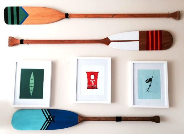 Vintage oars are the perfect answer to your blank-wall problem.