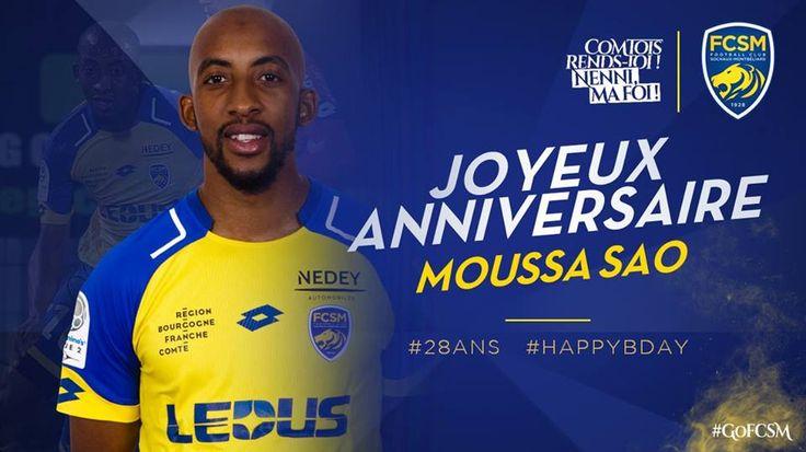 🦁FC Sochaux-Montbéliard🇫🇷  🦁FC SOCHAUX GREEK FANS🇬🇷 #GOFCSOCHAUX 💛💙 #ANNIVERSAIRE 🎉🎂  🎉🎂 On souhaite tous un joyeux anniversaire à Moussa #Sao qui fête aujourd'hui ses 2⃣8⃣ ans ! #HappyBday #GoFCSM