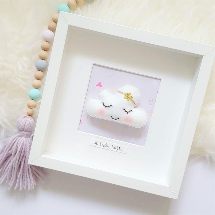 Personalised Cloud Art, Frame, Cloud Nursery, Personalised Picture, New Baby Gift, Nursery Decor, Personalised Baby Gift by OhSewRosieHandmade on Etsy https://www.etsy.com/uk/listing/501474849/personalised-cloud-art-frame-cloud