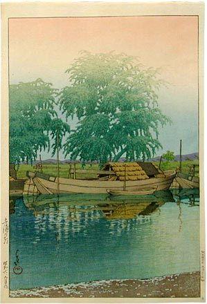 Kawase Hasui (1883-1957): Morning at Tsuchiura, woodblock print, ca. 1931. SOLD.