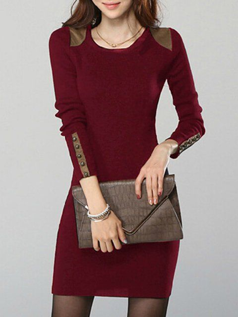 9313ed4adf Plus Size Women Sheath Daily Long Sleeve Faux suede Paneled Solid ...