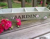 Wood Planter Wedding Place Card Holder Hand Painted Roses Rustic Wedding Table Number or Card Holder French Farmhouse