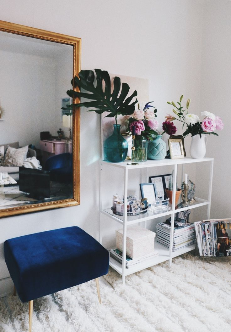 blue stool, large mirror, open styled shelves #white home