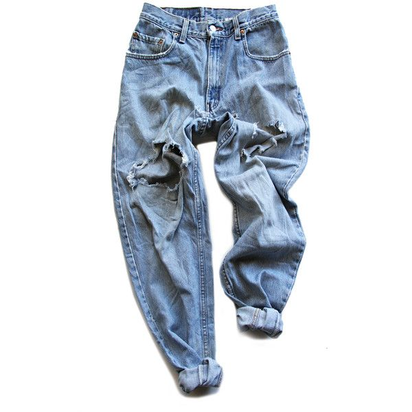 Archival Levi's Destroyed Boyfriend Pants FRUITION LAS VEGAS found on Polyvore featuring polyvore, women's fashion, clothing, pants, bottoms, jeans, trousers, distressed pants, torn pants and ripped pants