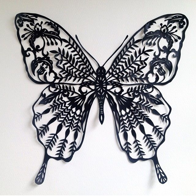 Black butterfly nouveau papercut paper cutting and book for Butterfly paper cut out template