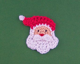 Santa Applique - PDF Crochet Pattern - Instant Download - Embellishment Hairclip Ornament scrapbooking Christmas Tree Accessories