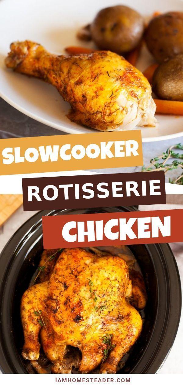 Slow Cooker Rotisserie Chicken Recipe Rotisserie Chicken Healthy Crockpot Recipes Recipes