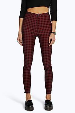 Lara High Rise Gingham Denim Skinny Jeans