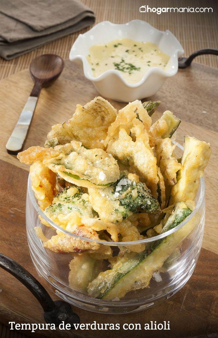 Receta de tempura de verduras con salsa alioli elaborada por la cocinera Amaia Urdangarin, un plato sencillo que se puede servir como aperitivo o entrante para compartir.  #vegetariano