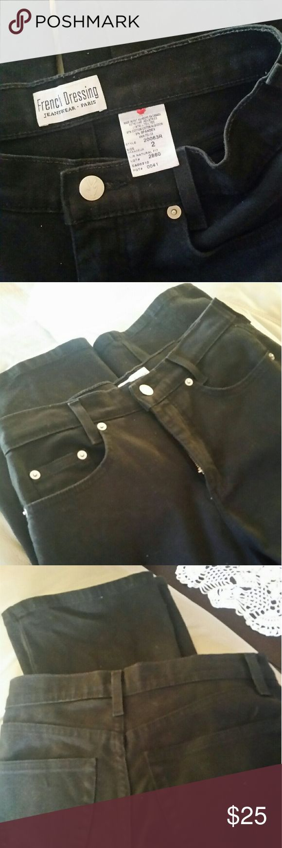 FRENCH DRESSING  JEANWEAR PARIS SIZE 2 French Dressing Jeanwear Paris.The color is darker then the pictures  shows due to lighting. The size is 2 and measurements are 14 1/2 waist and 32 long..SORRY NO TRADES French Dressing  Jeans