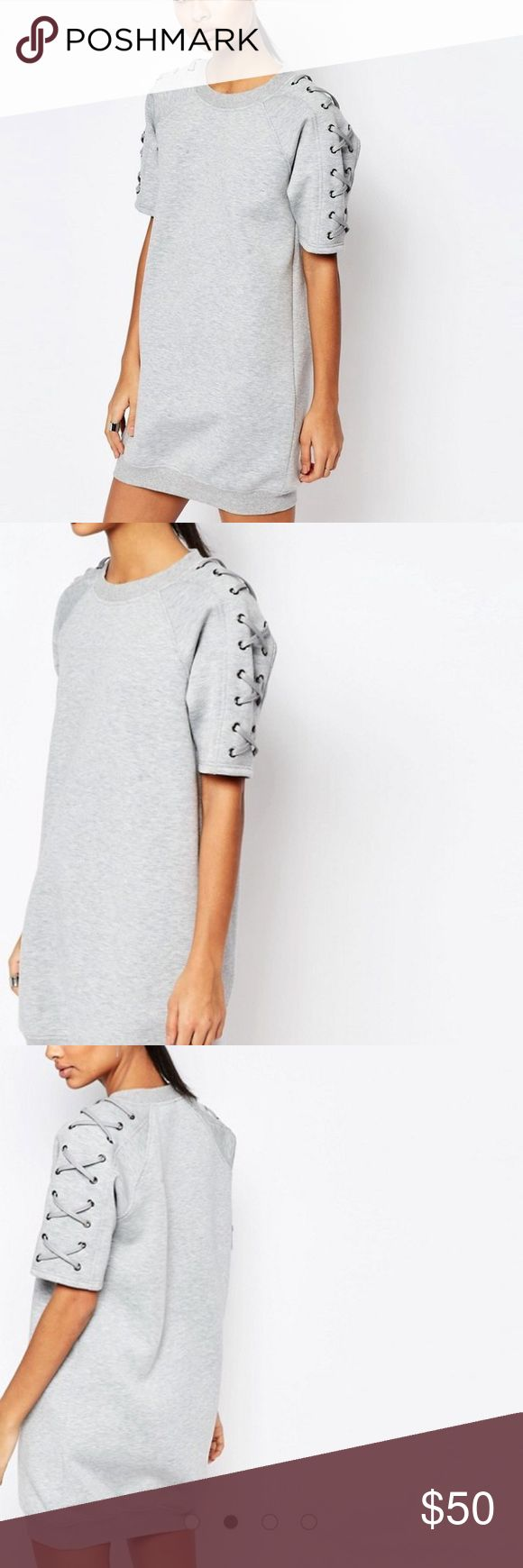 NWT ASOS sweat dress Sold out online. Brand new neoprene sweat dress with lace up detail. Oversized and super cute. Size is S/M. Brand is Story of Lola but sold at ASOS. ASOS Dresses