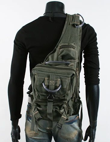 Men's Rugged Military-style Single-shoulder Crossbody Canvas Backpack - ModernManBags.com.