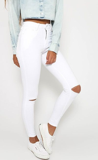 High-waisted skinny fit jeans.