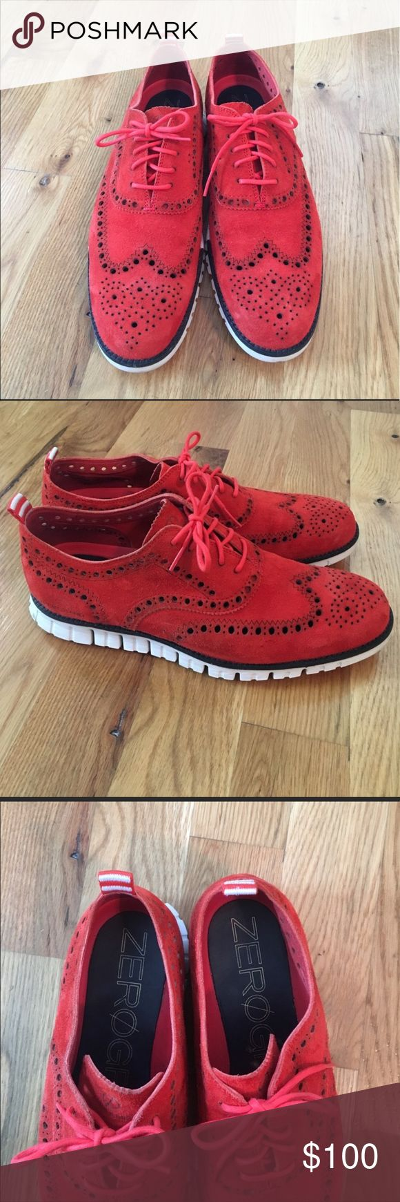 Like new red suede Cole Haan Zero Grand shoes Like new red poppy suede Cole Haan Zero Grand shoes. Very comfy and get lots of compliments. I usually wear a size 10, and I thought these would fit.m, but they're a little snug, so I need to sell. Size 9.5 Cole Haan Shoes
